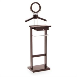 Winsome Valet Stand with Mirror and Coat Racks in Espresso Beechwood