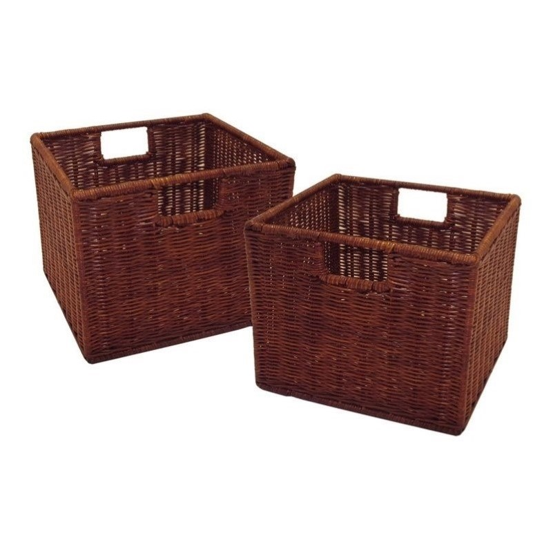 2 Small Wired Baskets In Antique Walnut 92211