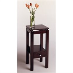 Brown Wood End Table with Chrome Accents in Dark Espresso