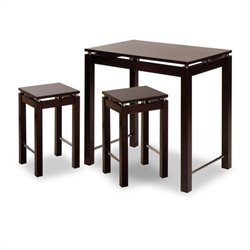 3 Piece Island Set - Table with 2 Stools in Espresso