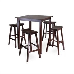 Winsome Parkland 5 Piece Square Pub Set in Antique Walnut