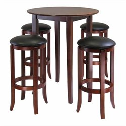 5 Pieces Round High/Pub Table Set in Antique Walnut