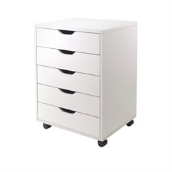 5 Drawer Wood Mobile Filing Cabinet in White