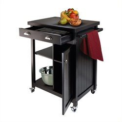 Kitchen Cart with Wainscot Panel in Black Finish