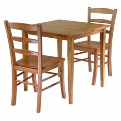 Square 3 Piece Square Dining Set in Light Oak