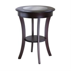 Round End Table with Glass in Cappuccino Finish