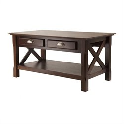 Coffee Table with 2 Drawers in Cappuccino Finish