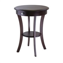 Round Accent End Table in Cappuccino Finish