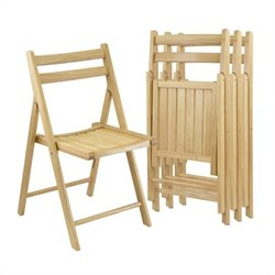 4 Piece Folding Chair Set in Beech Finish