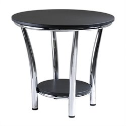 Round End Table Top with Legs in Black/Metal Finish