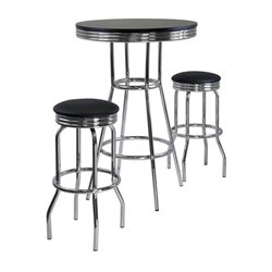 3 Piece Round Pub Set in Black/Metal Finish