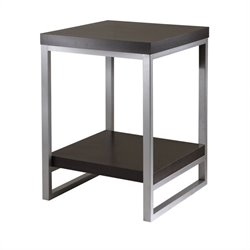 Winsome Jared End Table with Enamel Steel Tube in Dark Espresso Finish