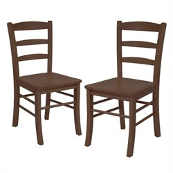 Ladder Back Dining Chair in Antique Walnut Finish (Set of 2)