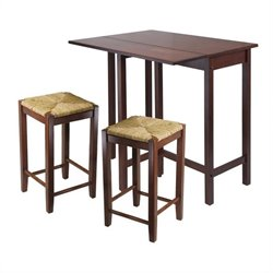 3 Piece Drop Leaf Dining Set in Antique Walnut
