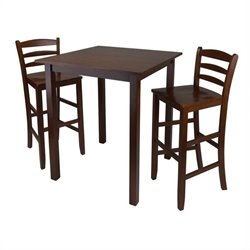 3 Piece Square Dining Set in Antique Walnut Finish