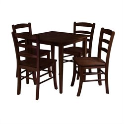 5 Piece Dining Set in Antique Walnut Finish