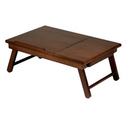 Lap Desk Flip Top with Drawer and Foldable Legs in Antique Walnut