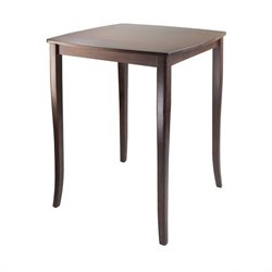 Winsome Inglewood High Dining Table with Curved Top in Antique Walnut Finish