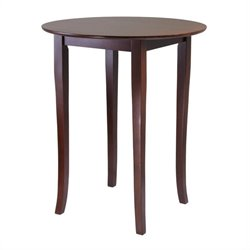 Round High/Pub Table in Antique Walnut Finish