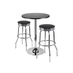 3 Piece Pub Set with Swivel Stools in Black