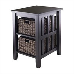 Side Table with Two Foldable Baskets in Espresso