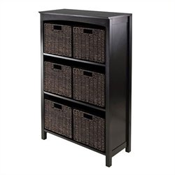 7 Piece Storage 4 Tier Shelf in Dark Espresso