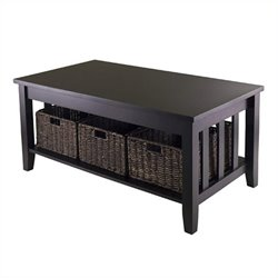 Coffee Table with Three Foldable Baskets in Espresso