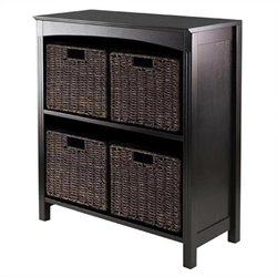 5 Piece Storage 3 Tier Shelf in Dark Espresso