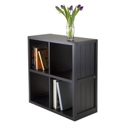 2x2 Shelf with Wainscoting Panel in Black