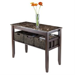 Faux Marble Top Console Table with 3 Baskets in Chocolate