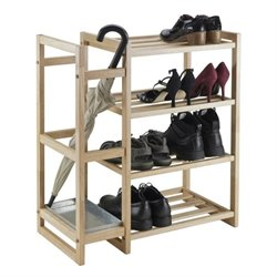 Shoe Rack with Umbrella Stand and Tray in Natural
