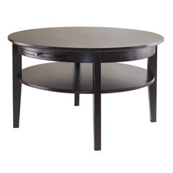 Round Coffee Table with Pull out Tray in Dark Espresso