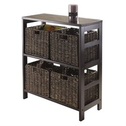 5Pc Storage Shelf with 4 Baskets in Espresso