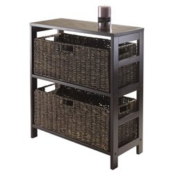 3Pc Storage Shelf with 2 Large Baskets in Espresso