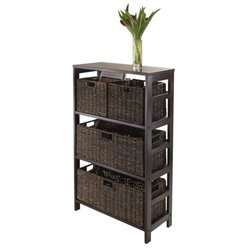 5Pc Storage Shelf with Two Size Baskets in Espresso