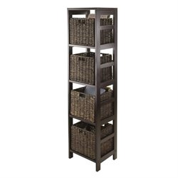 5Pc Storage Tower Shelf with 4 Baskets in Espresso