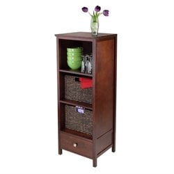 3Pc Jelly Cupboard with 2 Baskets in Antique Walnut