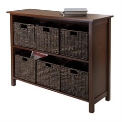 7Pc Storage Shelf with 6 Baskets in Walnut