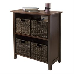 5Pc 2-Section Storage Shelf with 4 Baskets in Walnut