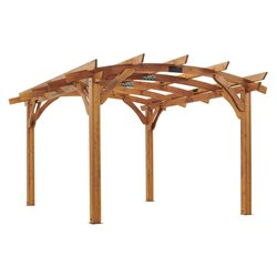 Outdoor Greatroom Company Sonoma 12' x 16' Arched Wood Pergola in Redwood Stain