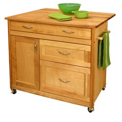 Catskill Craftsmen Mid Sized Drawer Kitchen Cart in Natural Birch