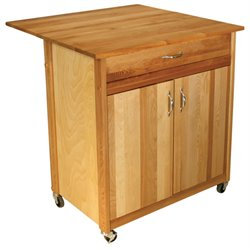 Catskill Craftsmen 2 Door Kitchen Cart with Drop Leaf in Natural Birch
