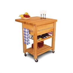 Catskill Baby Grand Butcher Block Workcenter with Wine Rack in Natural