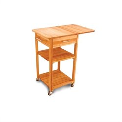 Catskill Craftsmen Drop Leaf Butcher Block Kitchen Cart in Natural Finish