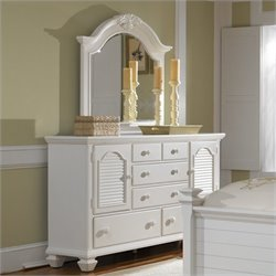 Broyhill Mirren Harbor 5 Drawer 2 Door Dresser and Mirror Set in White