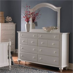 Broyhill Hayden Place 8 Drawer Dresser w/ Arched Mirror in White