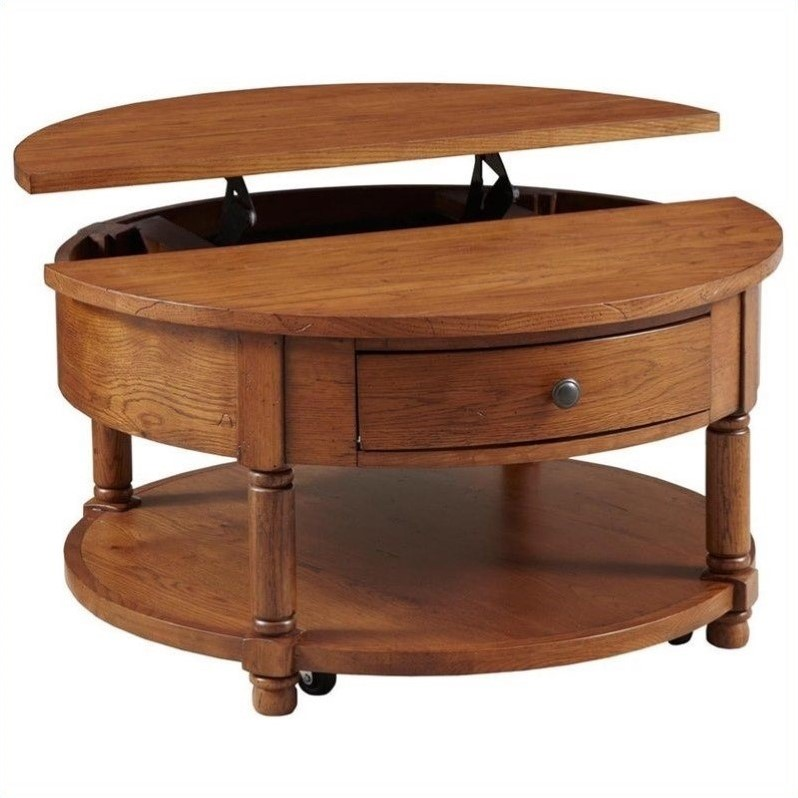 Broyhill Attic Heirlooms Round Lift Top Cocktail Table In