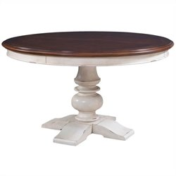 Broyhill Creswell Round Dining Table in Cherry and Antique White