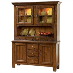 Broyhill Attic Heirlooms China Base and Hutch in Attic Rustic Oak