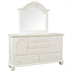 Broyhill Mirren Harbor Arched Dresser and Mirror in White